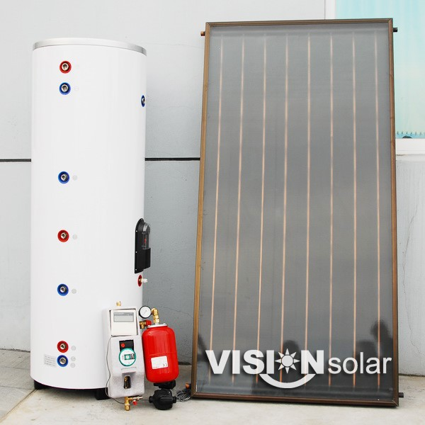 High effeciency black chrome coating solar geyser installation with panel collector