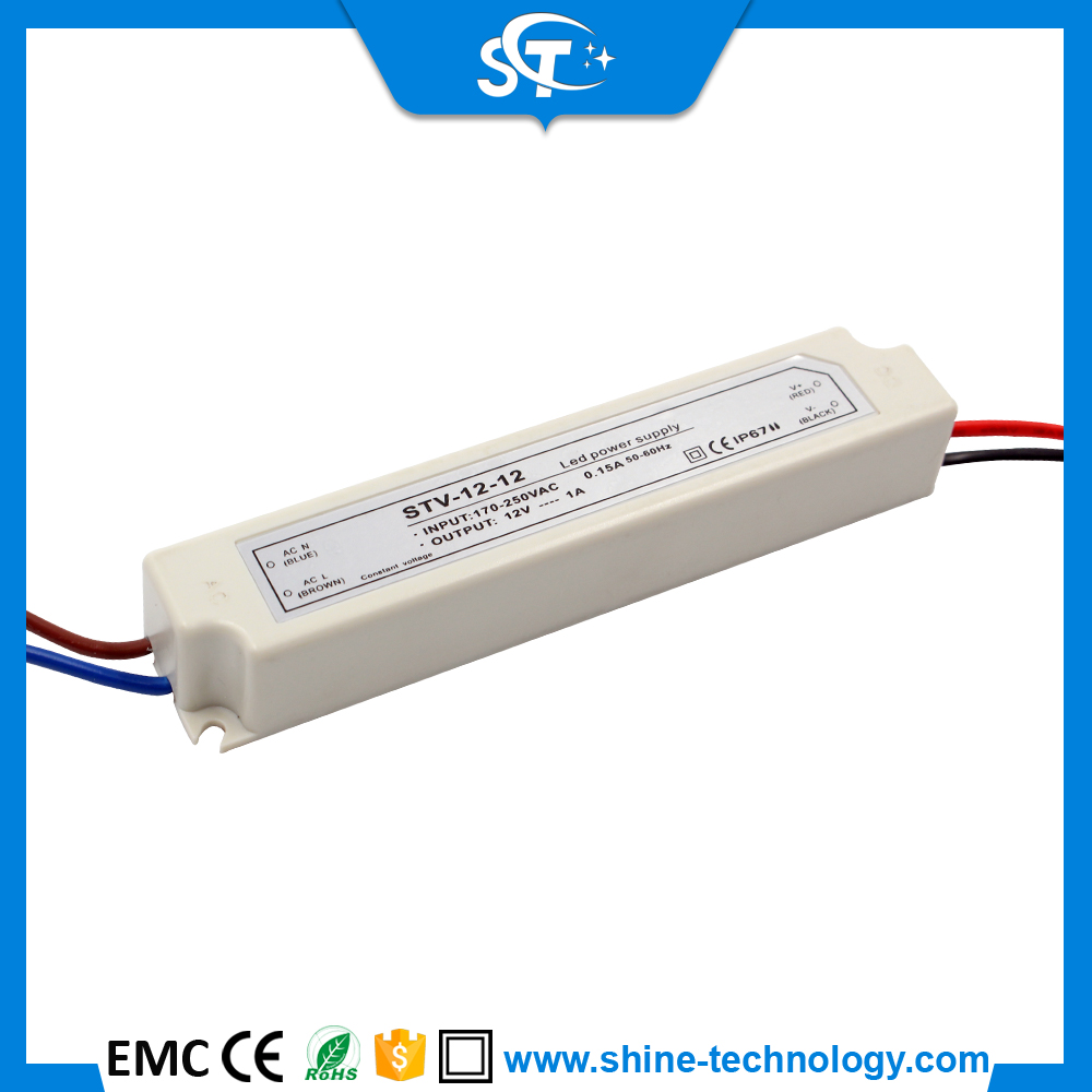12w led driver 12V 1A 12W plastic case for LED power supply,electric power,industrial control