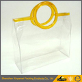 clear transparent handle plastic packaging bags,vinyl pvc shopping tote bags,pvc zipper bags packaging with handle