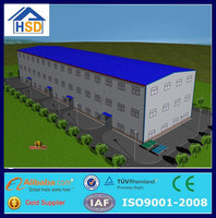 prefab long-span mobile workshop steel structure two story building