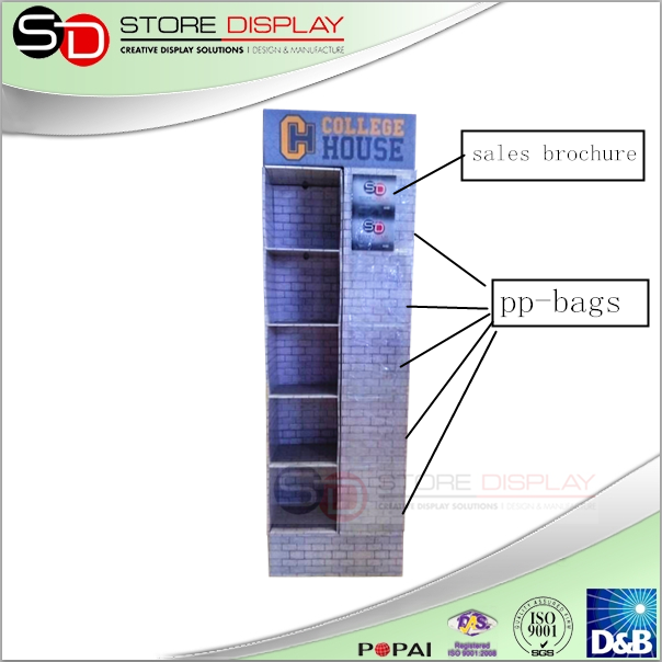 4 Side POP Display Good Sell Display Stand 5 Tier Paper Book Display Stand with PP bags
