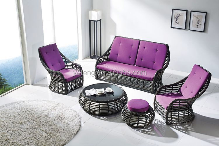 Outdoor Synthetic Rattan Furniture Sofa Set Patio Sofa Furniture With Ratan  Chairs
