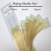 Good quality Indian seamless human hair skin tape hair weft