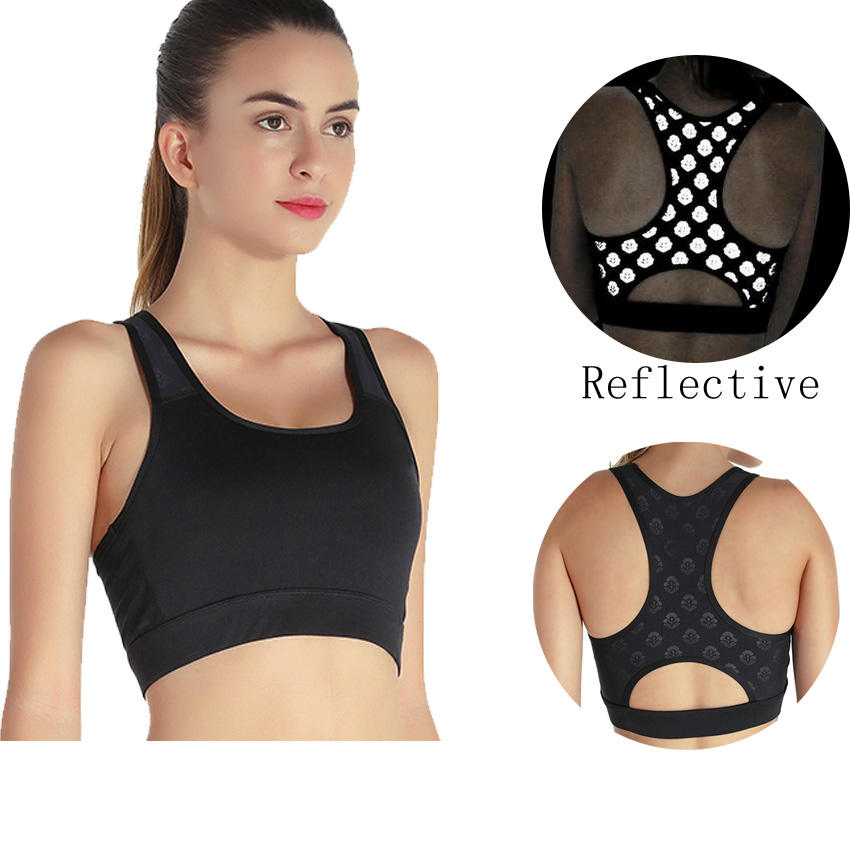 top custom hot sexy nice yoga sports inner wear fitness bra for girl and ladies with reflective printing logo pattern