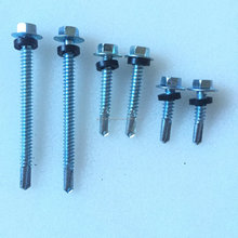 #4 points Hex head self drilling screws with rubber/EPDM washer