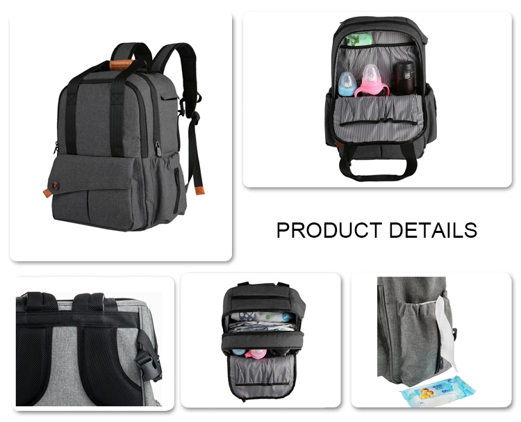 Waterproof Travel Diaper Backpack With Changing Pad And Stroller Clips