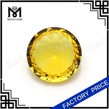 Hot Sale Round Cut 18mm Yellow Window Glass Stones for Costume