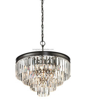 High quality 5 ring crystal pendant light Iron black iron chrome modern crystal chanderlier from China supplier