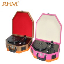 RHM wholesale hot sale mini portable vinyl record player with speakers
