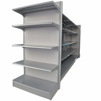 Plain metal supermarket display shelf