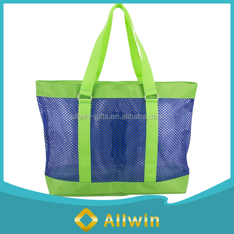 Custom lightweight mesh beach tote bag for wholesale