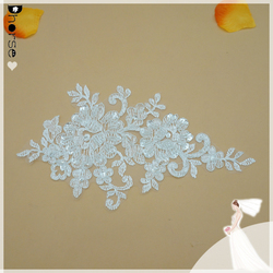DHLF1657 Bridal Lace Applique Beaded Wedding Motif Floral Off White Sewing Trim