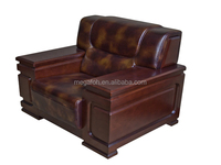 Single seat office conference room sofa solid wood frame leather couch(FOH-1275)