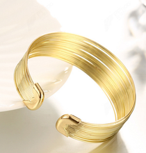 Athenaa jewelry exaggerated 18k gold ion plated ladies open bangles design gold image