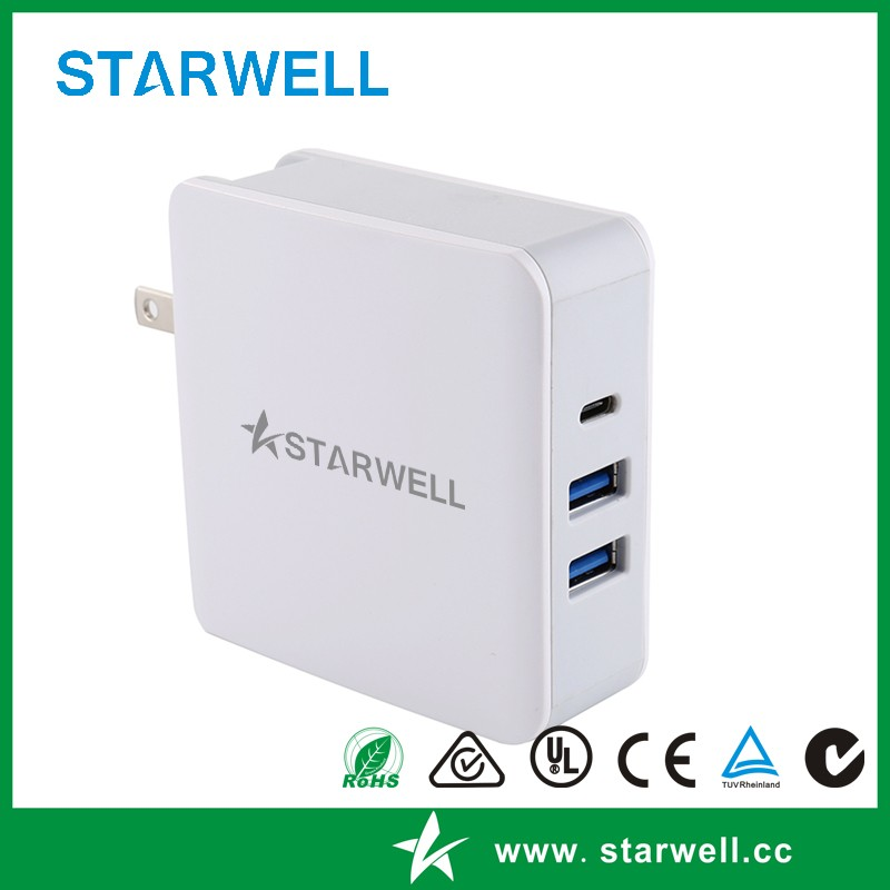 Dual USB port and usb 3.1 type c wall charger