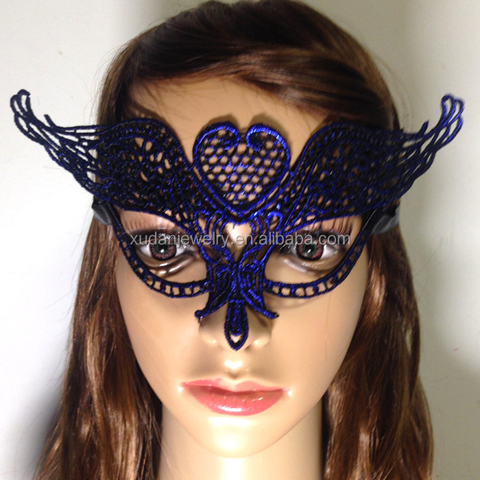 Colorful Sexy Female Party City Masquerade Party Bule Lace Masks