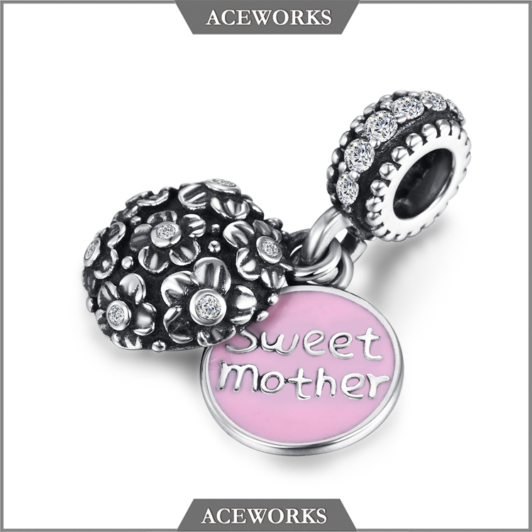 CMQ1206 Aceworks 925 sterling silver <strong>charms</strong> Sweet Mother <strong>Charm</strong> for Silver Bracelets