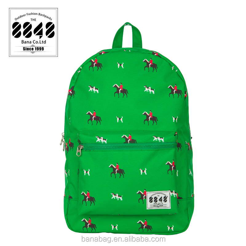 Waterproof Useful Green Horse Color School Backpack Bags