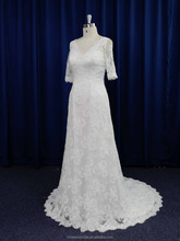 Glamorous 1/2 sleeves v-neck beaded full lace wedding dress for mature women