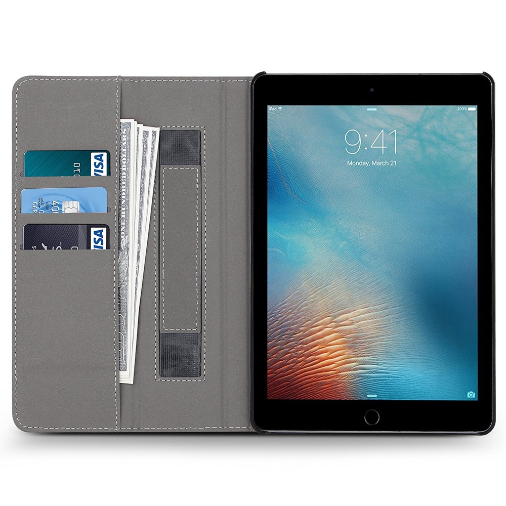 "For iPad 10.5"" Case 2017 Premium Leather Multiple Viewing Stand Cover with Hand Strap , Auto Wake/Sleep Smart Folio Flip cases"