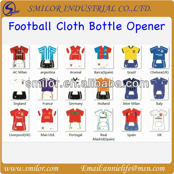 Football Cloth Bottle Opener;Sports T-Shirt Bottle Opener