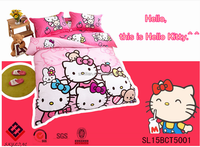Hello Kitty reactive printing egyptian cotton fitted cartoon children king queen cute sheets high quality