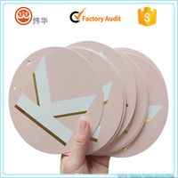 customized circle paper card printing letters in gold foil