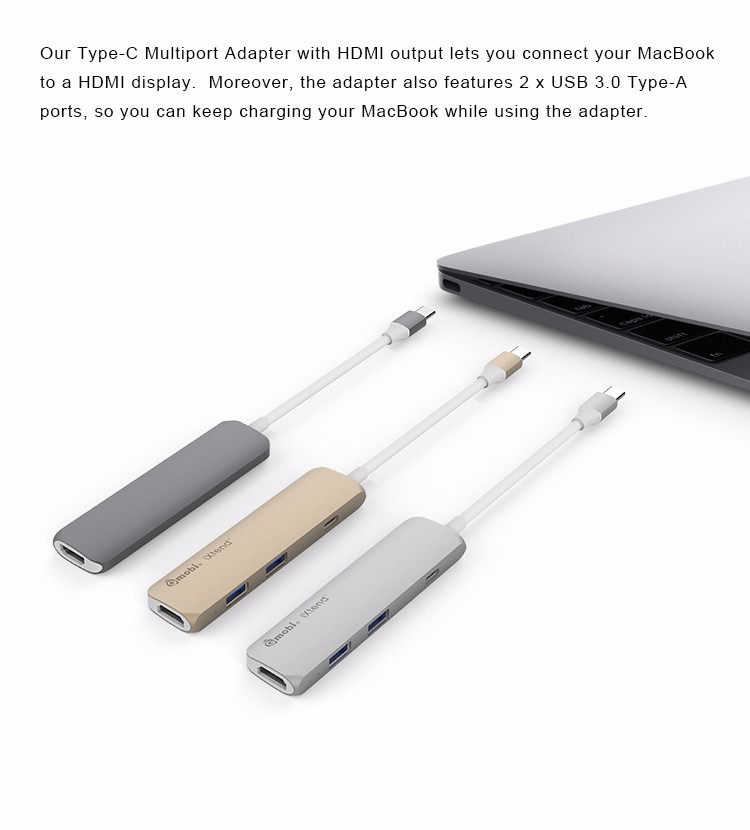 4 port USB Type C hub with PD Charging and 4K HDMI Function for new 2015 & 2016 MacBook