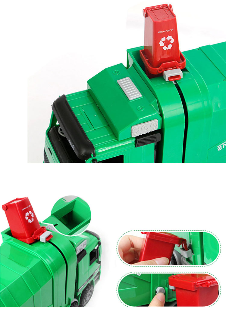 Friction Powered Garbage Truck Toy Model with Garbage Cans
