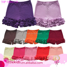 Wholesale Little Girl's Ruffle Shorts Solid Cotton Icing Triple Ruffle Shorts Bottoms Boutique Summer Pants