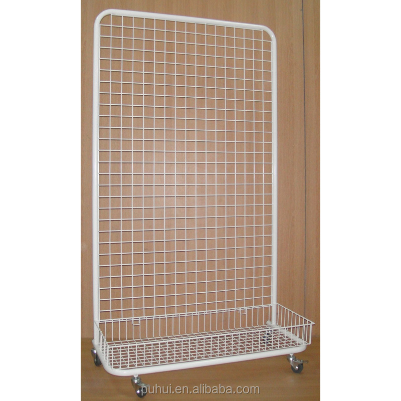 powder coating floor standing grid wire display rack for retail shops