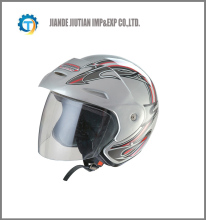 DOT open face helmet with colorful design SILVER COLOR