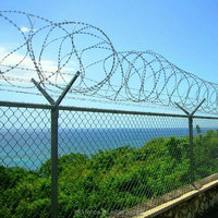 Chain link galvanized fence with top barbed wire and diamond wire mesh for airport or boundary filed fence