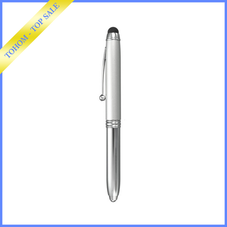promotional gift 3 in 1 multifunctional led torch light pen with stylus light tip ball pen for Christmas