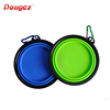 Factory BPA free FDA approved Food Grade silicone large size portable travel collapsible dog pet bowl with carabiner