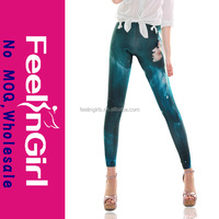 Hot sale sexy fashion girl green printed galaxy korean sexy leggings pics