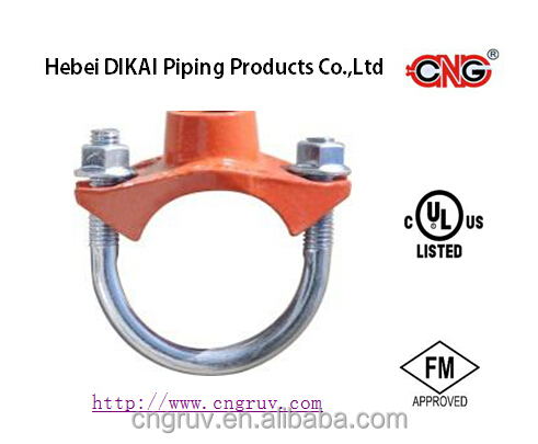 UL/FM approved ductile iron grooved pipe fitting U-Bolt threaded Mechanical Tee