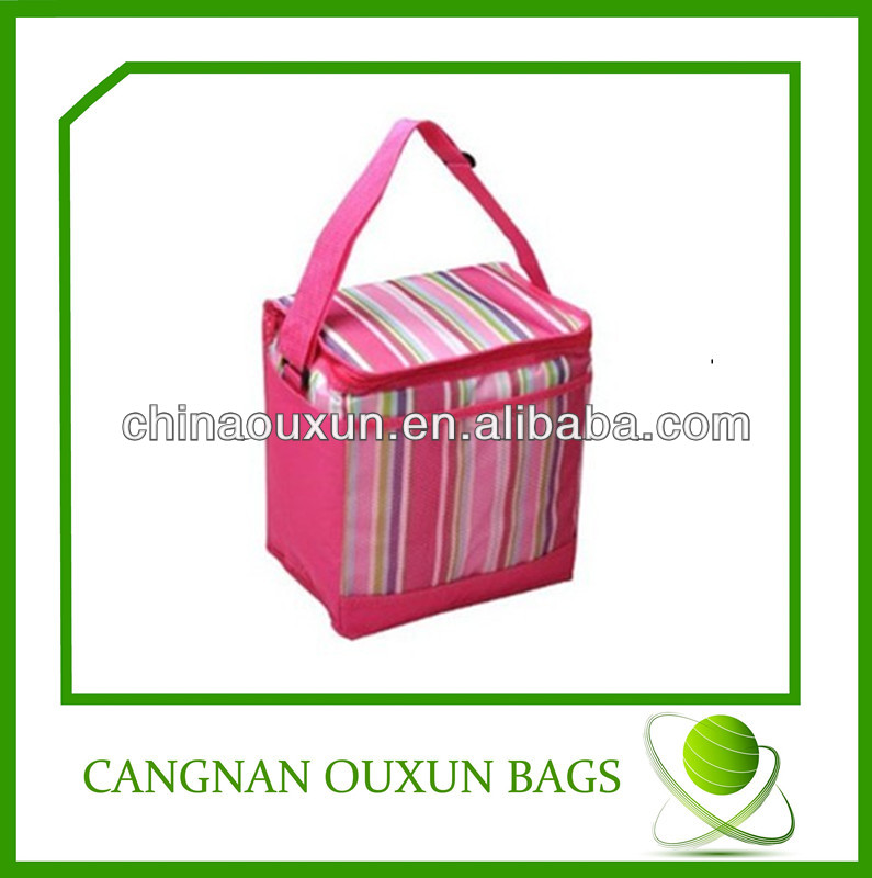 polyester tote cooler bag with solid color printing