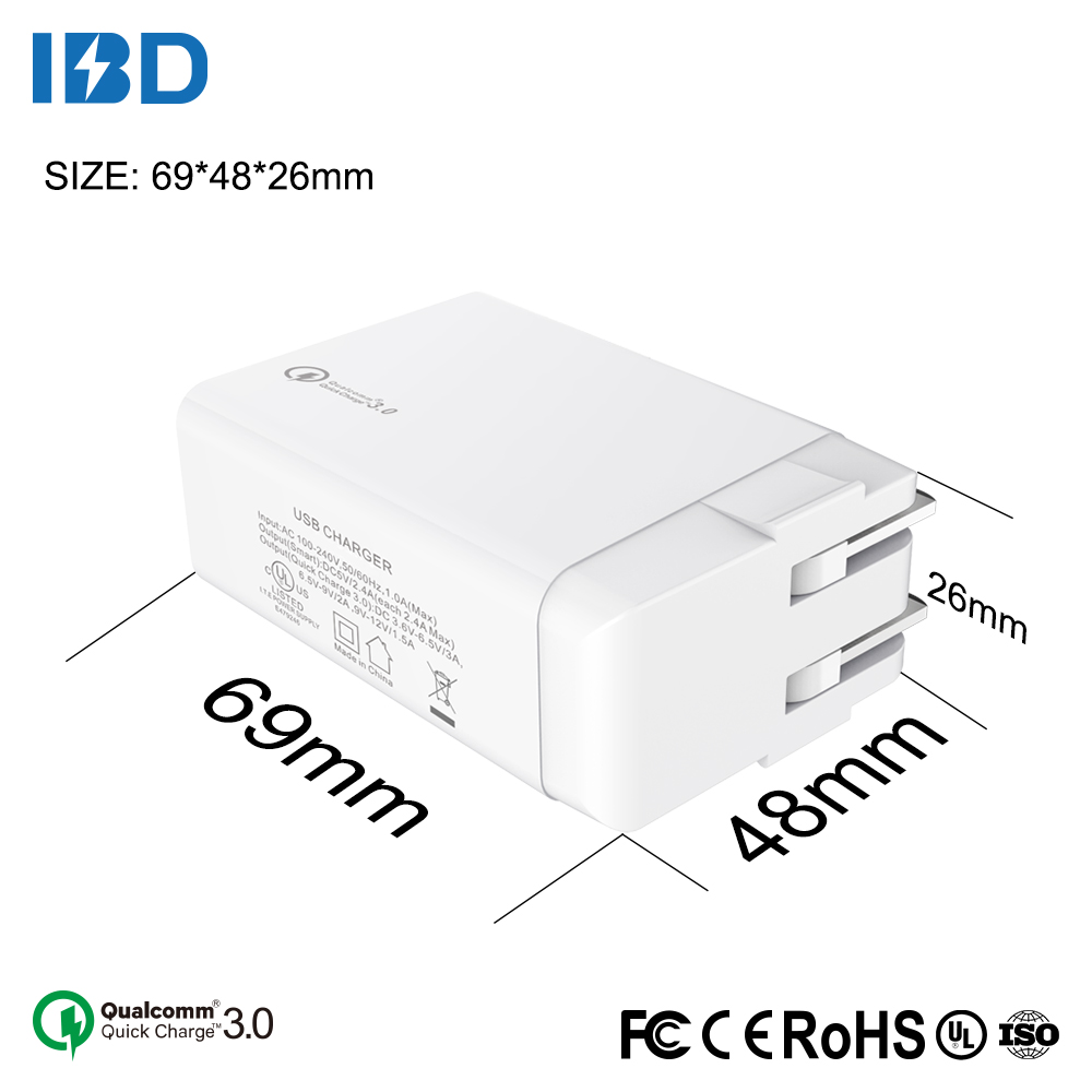 QC 3.0 quick charger 3 port usb smart ul certified 2.4a home usb wall charger