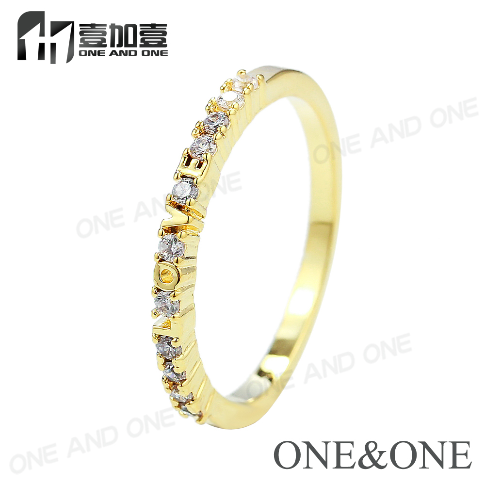 Love Ring Set 18K Gold Plated AAA CZ Stone Heart Ring For Girls
