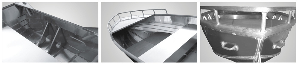 AV type fully welded aluminum fishing boat