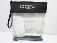 Clear TPU Plastic cosmetic bag with 600D polyester piping and long Handle