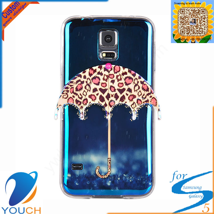 Customed imd printing umbrella design smart mobile phone case for SAMSUNG galaxy s5