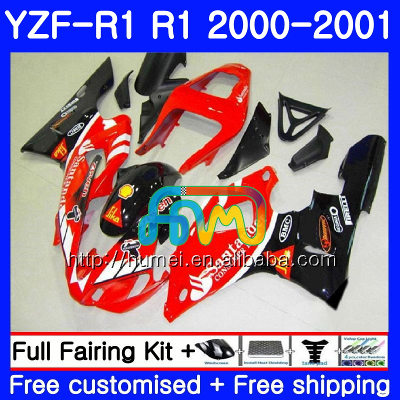 Santander red Bodywork For YAMAHA YZF 1000 YZF-<strong>R1</strong> 2000 2001 Body 98HM4 YZF1000 YZF R 1 YZFR1 <strong>00</strong> <strong>01</strong> YZF-1000 YZF <strong>R1</strong> <strong>00</strong> <strong>01</strong> Fairing
