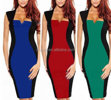 Popular dresses western bodycon short sleeve woman fashion v-neck pencil dresses