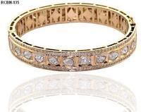 Indian Jewelry 14k Gold Rose Cut Diamond Wedding Bangle
