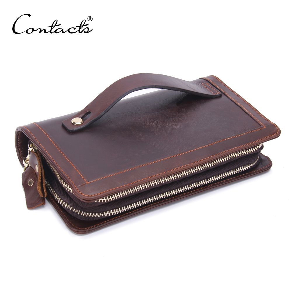 Double Zipper High Capacity Vintage Genuine Leather Clutch Bag for <strong>Men</strong>