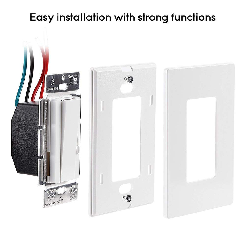 UL Listed White Decorator Rocker Dimmer Light Switches Single Pole 3 Way Electrical CFL/LED Dimmer Switch