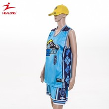 Customized Sublimation v neck blue Basketball Uniform