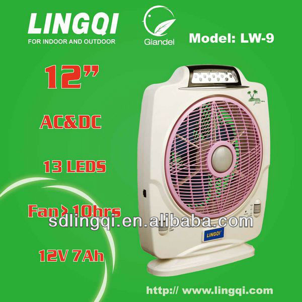 Japan PSE rechargeable battery table fan with LED light LW-9 Lingqi